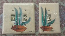 Hand Painted Southwest Decor Double / Single  Light Switch Plate Cover Feathers