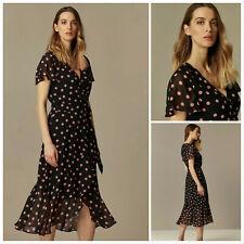 Wallis Black Polka Dot Print Wrap Midi Dress Sizes 8 to 20