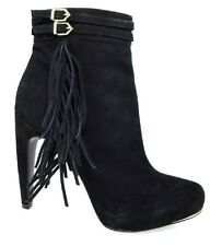 $225 SAM EDELMAN KEEGAN FRINGE BELTED STRAPS BLACK SUEDE BOOTS Women's Shoes 8.5