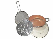 "Copper Pan Non-stick 12"" Wok Chef Grade 4 Pcs Set Induction Glass Lid Roasting"