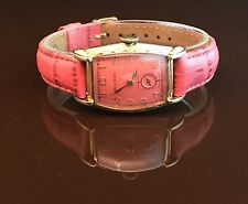 Vintage Bulova Curved Handwinding Watch Pink Dial/Strap Gold Filled Case