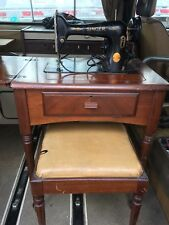 SINGER SEWING MACHINE 66-16 Electric 1940's with table and stool