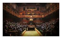 Banksy Devolved Apes  Parliament Brexit Painting XL Wall Art Canvas Print