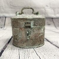Antique Vtg Solid Brass Lion Hinged Latch Trinket Jewelry Box Container India