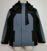 Weatherproof Expedition Boys Jacket Medium Hooded Black Blue Zip Up Soft Shell