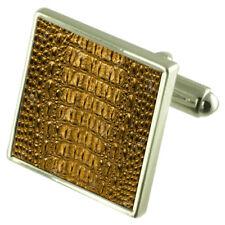 Crocodile Skin Sterling Silver Cufflinks Optional Engraved Box