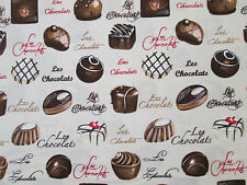 CHOCOLATE CANDY FRENCH CANDIES LES CHOCOLAT COTTON FABRIC FQ