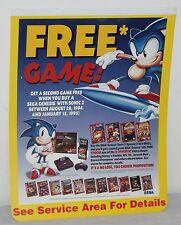 Sonic Sega Genesis Jurassic Park Aladdin Store Display Sign Poster Promo VTG 90s