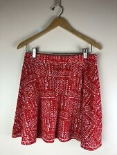Mossimo Women's Red Aztec Print Cotton Skirt Size M