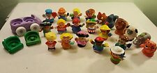 Lot of 15 Fisher Price Little People, 6 Animals, 2 Wheelchairs and 1 Car