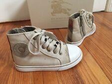 Burberry Girl Beige High Top Sneakers Zipper Shoes Size 27 Eu Us 10