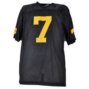 NCAA Iowa Hawkeyes #7 Black Yellow Jerseys Mens Adult Pro Edge Short Sleeve