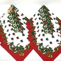 NEW Set Of 12 Vintage Red Christmas Napkins Bells & Bows Made In USA Cotton/Poly