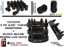 "4pc 6x139.7 Tacoma FJ Cruiser 1.25 ""HubCentric Wheel Adapters +24 Acorn Lug Nuts"