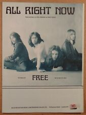 Free All Right Now Paul Rodgers Vintage 1970 Uk Sheet Music Blue Mountain Music