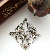 Antique Silver * Filigree Acanthus Leaf Stampings ~ Oxizided Findings (Cb-3052)