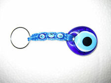 Glass Art Stone Blue/White Key Chain New