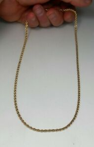 """14K SOLID GOLD 20.5"""" Exquisite Diamond Cut Rope Link Chain Necklace MINT"""