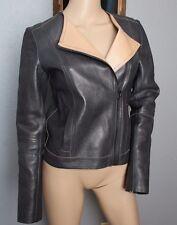 Vince BUTTER SOFT Gunpowder Dark Gray Black Tan 100% Leather Motorcycle Jacket S
