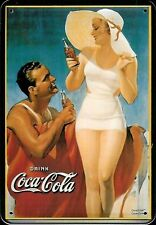 Coca Cola Flirt Blechpostkarte Blechschild Metal Tin Post Card Sign 10 x 14 cm