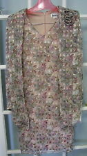 Vintage NWT batwing dress ladies 7/8 womens dinner cocktail pink floral church