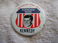 Vintage Forward With Kennedy Campaign Pin Progress For All Kleenex Tissues 1968