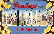 Large Letter postcard Greetings from Des Moines Iowa