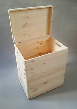 2x Wooden Box Chest With Handel Lid Storage Craft Decoupage Large Size Boxes