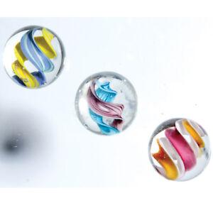 3 HELTER SKELTER 16mm Handmade art glass clear swirl Tornado Twist Marbles ball