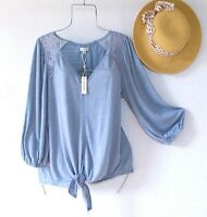 New~$68~Light Blue Peasant Blouse Crochet Lace Shirt Boho Top~Size Large L