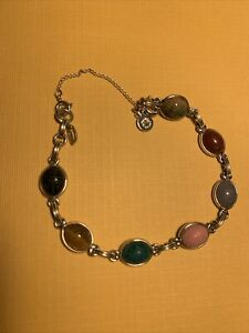 STERLING SILVER SCARAB BRACELET Authentic Stems STONE Candida SAFETY CHAIN