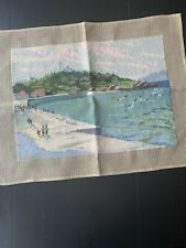 Hand Stitched Needlepoint At The Beach Ocean Landscape Scene Completed 18 x 13