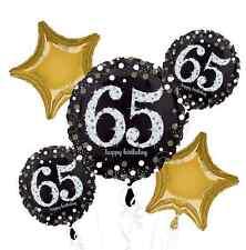 Sparkling Celebration 65th / 65 Birthday Balloon Bouquet Party Supplies ~ 5 pc.
