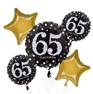 Sparkling Celebration 65th Birthday Balloon Bouquet (65) Adult Party Supplies