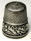 Antique Simons Bros  Sterling Silver Thimble   Repousse Boarder    HG   C1890s