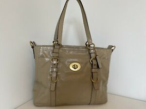Coach Chelsea Taupe Patent Leather Tote Satchel Bag F14022 As-is See Pics