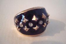 Gold Tone Enamel Black Diamante Spiky Statement Ring Size O