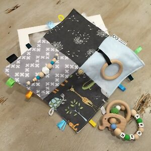 Baby Boy/Unisex Gift Box 2 Pce Sets, Taggie & Personalised Natural Wood Teether