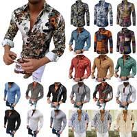 Herren Langarm Freizeithemd Schlank Hemden Atmungsaktiv Oberteile Bluse Mode DE