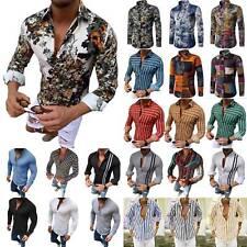 Männer Blumenhemd Freizeithemd Langarm Slim Fit Bluse Shirt T-shirts Hemden