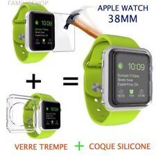 Coque protection transparent souple silicone gel apple watch 38MM + Verre trempé
