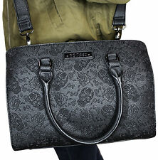 Rock Rebel Embossed Sugar Skulls Tattoo Roses GG Rose Black Shoulder Bag Purse