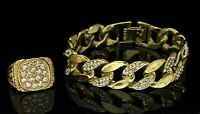 Mens 2pc Set Miami Cuban Link Bracelet Ring 14k Gold Plated Icy Hip Hop Fashion