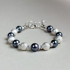Silver stardust dark grey pearls beaded bracelet party wedding bridesmaid gift