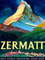 Zermatt Switzerland Matterhorn Vintage Schwiez Travel Advertisement Art Poster 2