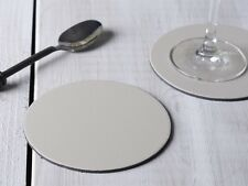 Set of 8 Cream Round Leatherboard Coasters