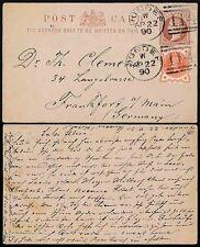 Gb Scotland 1890 Uprated Stationery Card to Germany Dundee Duplex 114.Vfu