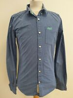 J471 MENS SUPERDRY BLUE GREY WHITE CHECK LONDON BUTTON DOWN L/SLEEVE SHIRT UK S