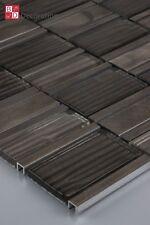 Mosaico de Vidrio Aluminio Baldosas Marrón Oscuro Brillante 30x30cm 1m ²