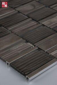 Glasmosaik Aluminium Mosaikfliesen Glas Mosaik Fliesen Braun 1m² 8mm